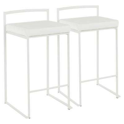 Fuji 26 in. White Stackable Counter Stool with White Velvet Cushion (Set of 2)