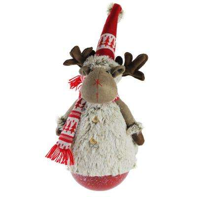 23 in. Tumbling Melvin the Moose with Red Hat and Scarf Christmas Decoration