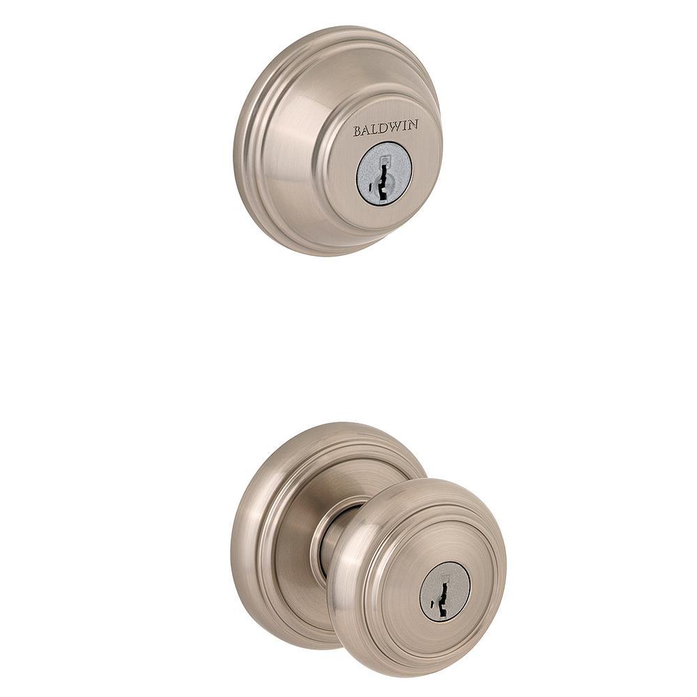 Prestige Alcott Satin Nickel Exterior Entry Knob and Single Cylinder Deadbolt