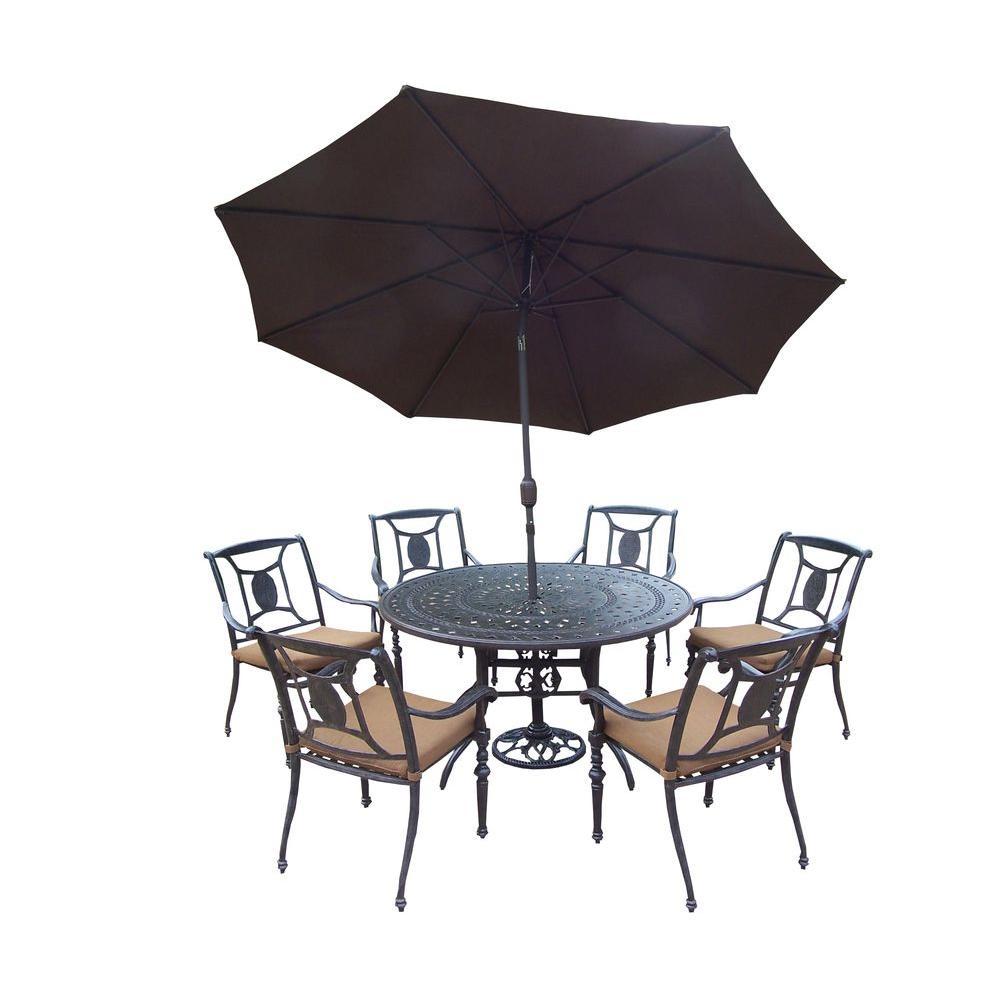 Oakland Living Cast Aluminum 9 Piece Round Patio Dining Set With Sunbrella Cushions And Umbrella