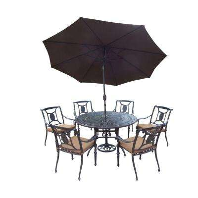 Cast Aluminum 9-Piece Round Patio Dining Set with Sunbrella Cushions and Umbrella