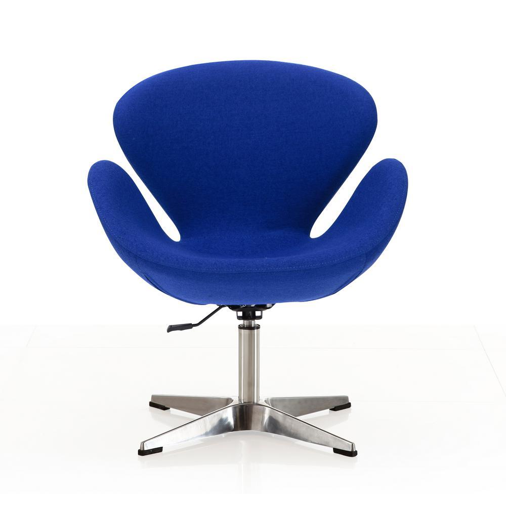 Blue Wool Raspberry Adjustable Swivel Chair
