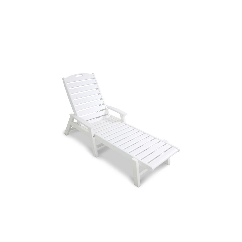 Trex Outdoor Furniture Yacht Club Classic White Patio Stackable Chaise