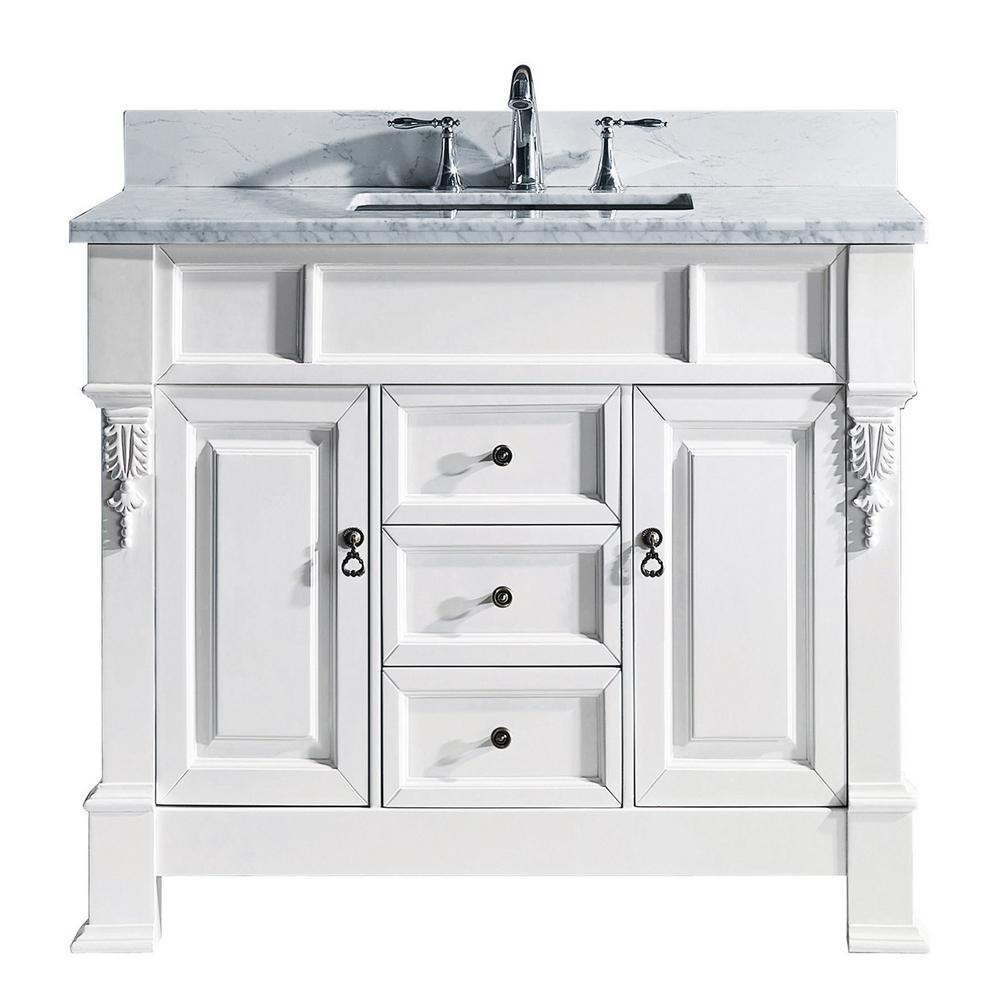 Virtu Usa Huntshire 40 In W Single Bath Vanity In White With Marble Vanity Top And Square Basin With Faucet Gs 4040 Wmsq Wh 002 Nm The Home Depot