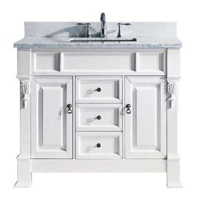 Huntshire 40 in. W Single Bath Vanity in White with Marble Vanity Top and Square Basin with Faucet