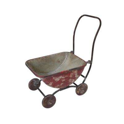 16.9 in. x 17.5 in. Red Brush Painted Metal Wagon Plant Holder