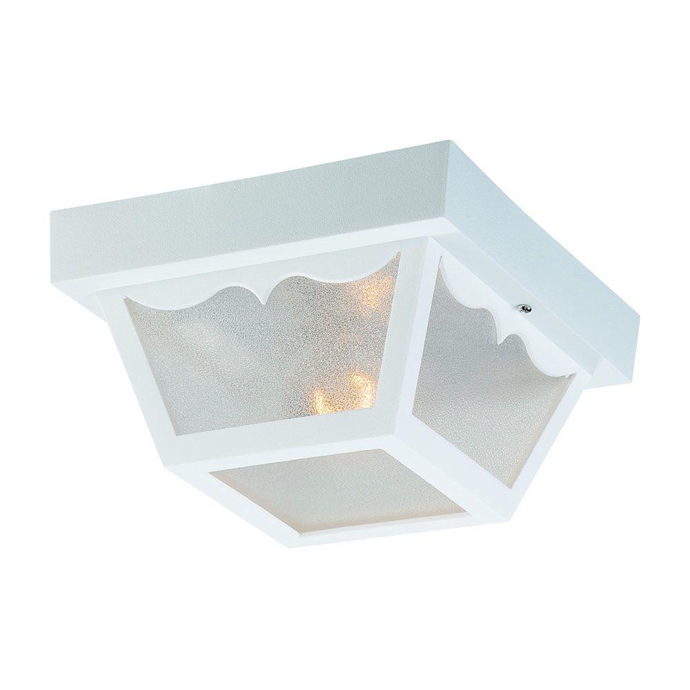 Durex Collection 1-Light White Outdoor Ceiling Mount Light Fixture