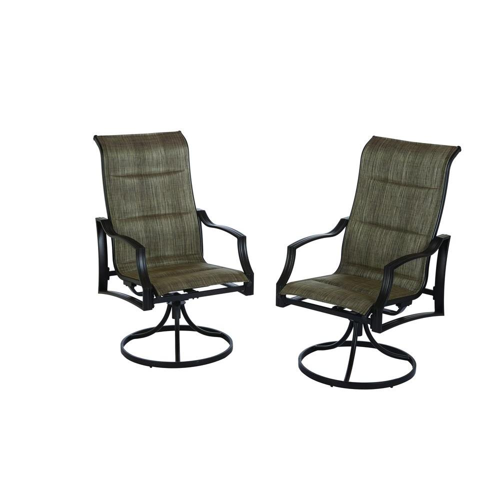 Hampton bay statesville padded sling patio lounge swivel chairs 2 pack fcs70366s the home depot