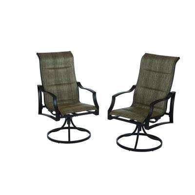 Statesville Padded Sling Patio Lounge Swivel Chairs (2-Pack)