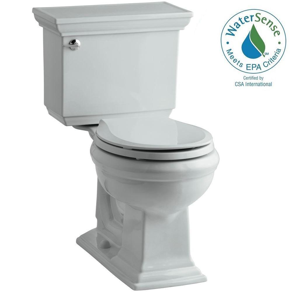 KOHLER Memoirs Stately 2-piece 1.28 GPF Round Toilet with AquaPiston Flushing Technology in Ice Grey