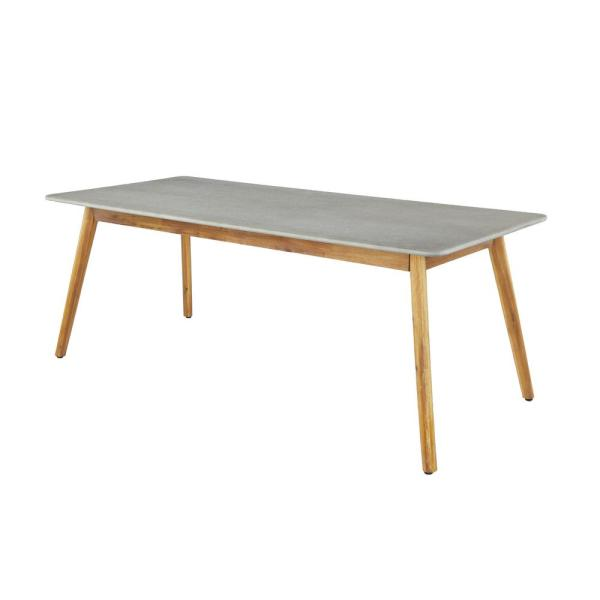 Litton Lane Rectangular Gray Concrete Outdoor Dining Table With Wooden Brown Mid Century Legs