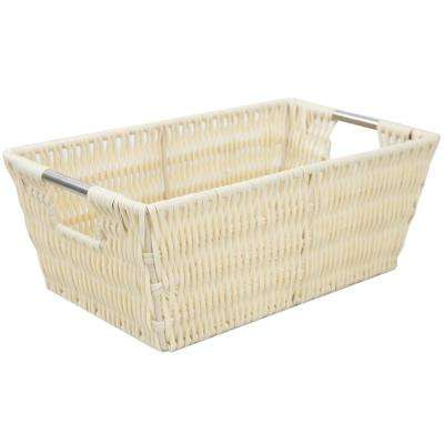 Intricate Decorative Weave 6.87 in. x 4.5 in. Ivory Basket