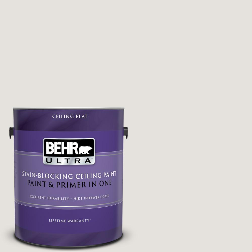 BEHR ULTRA 1 gal. #UL260-13 Painter's White Ceiling Flat Interior Paint and Primer in One