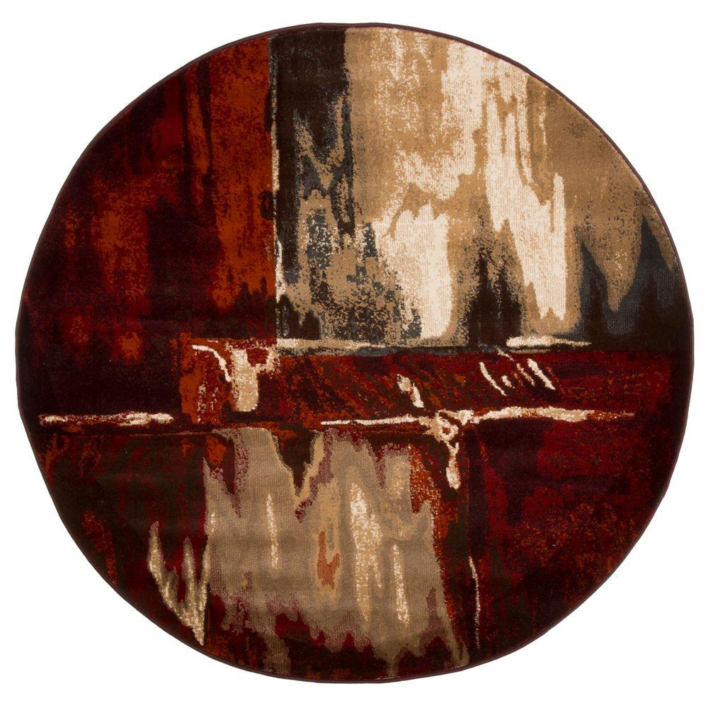 Lavish Home Opus Artfully Abstract Red 5 ft. x 5 ft. Round Area Rug