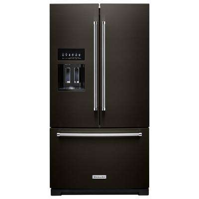 27 cu. ft. Built-In French Door Refrigerator in PrintShield Black Stainless with Exterior Ice and Water