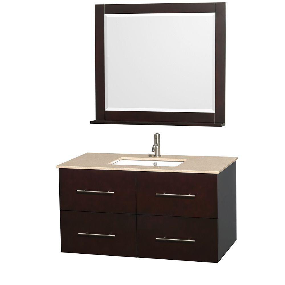 Wyndham Collection Centra 42 in. Vanity in Espresso with Marble Vanity Top in Ivory, Square Sink and 36 in. Mirror
