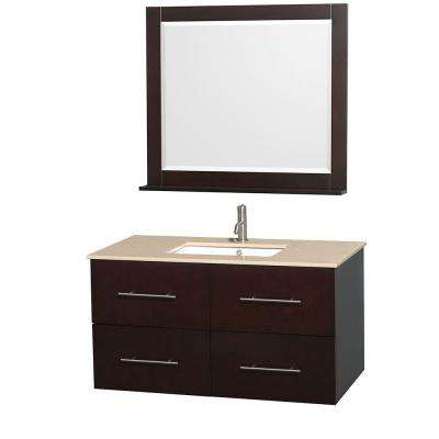 Centra 42 in. Vanity in Espresso with Marble Vanity Top in Ivory, Square Sink and 36 in. Mirror