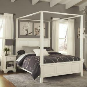 Internet #204589681. Home Styles Naples White Queen Canopy Bed & Home Styles Naples White Queen Canopy Bed-5530-510 - The Home Depot