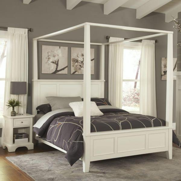 Homestyles Naples White Queen Canopy Bed 5530 510 The Home Depot