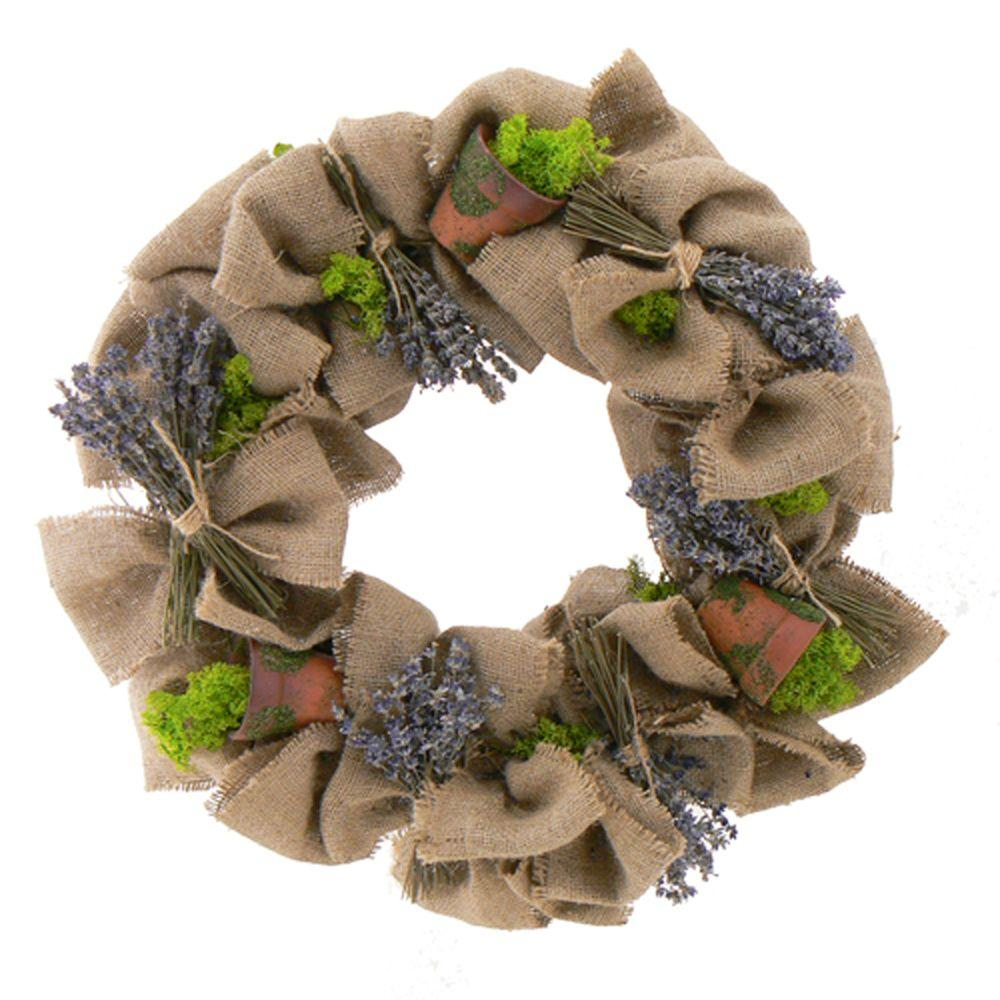 The Christmas Tree Company Lilliputian Lavender Flowerpots 18 in. Dried Floral Wreath-DISCONTINUED