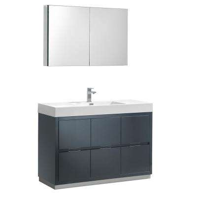 Valencia 48 in. W Vanity in Dark Slate Gray with Acrylic Vanity Top in White with White Basin and Medicine Cabinet