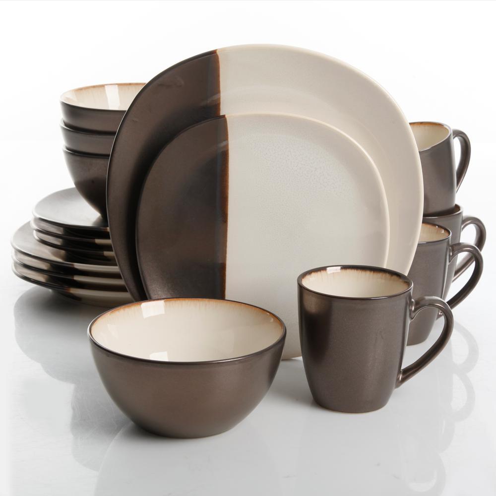 Volterra 16-Piece Cream Reactive Glaze Dinnerware Set
