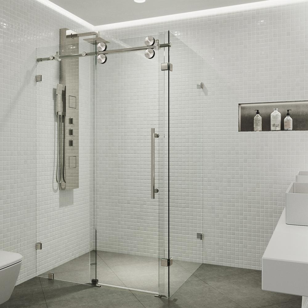 VIGO Winslow 34.625 in. x 74 in. Frameless Corner Bypass Shower Enclosure in Stainless Steel with Clear Glass