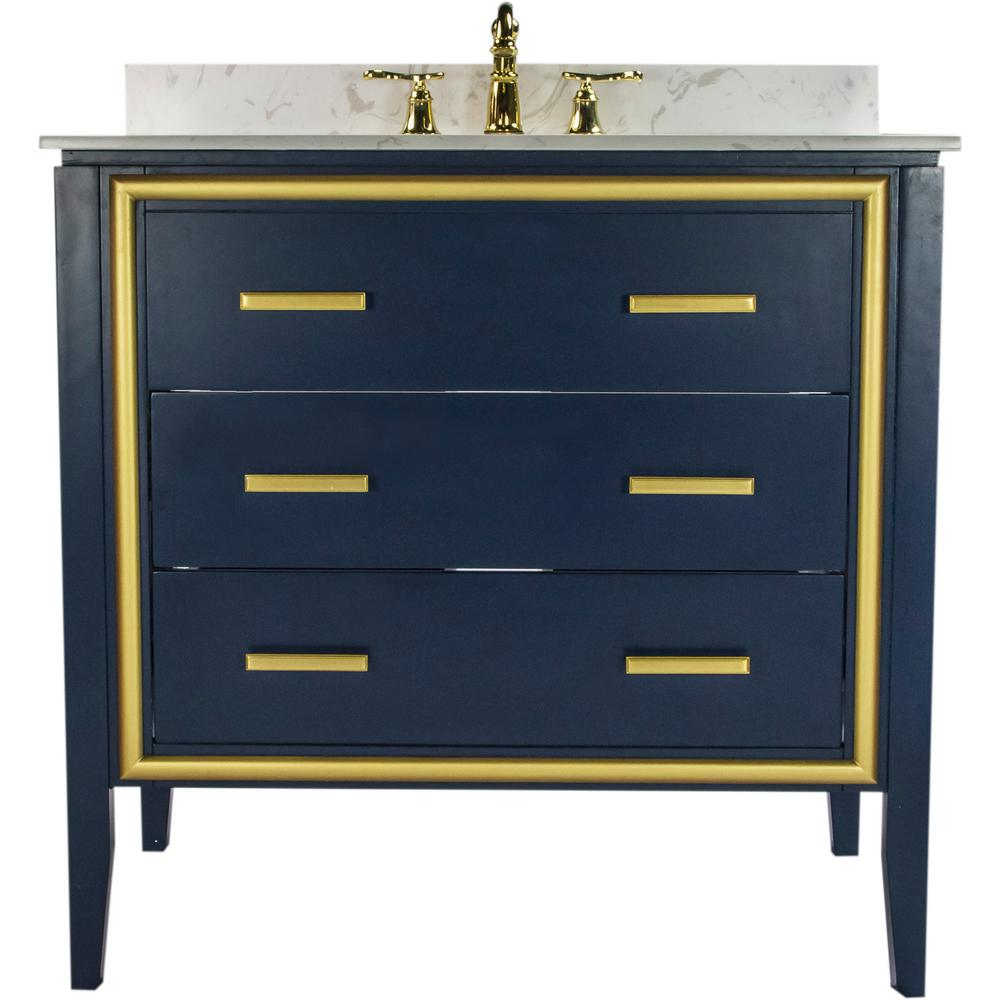 JSG Oceana Skylar 36 in. W x 22.25 in. D Bath Vanity in Navy with Granite Vanity Top in White with Crystal Reflections Basin