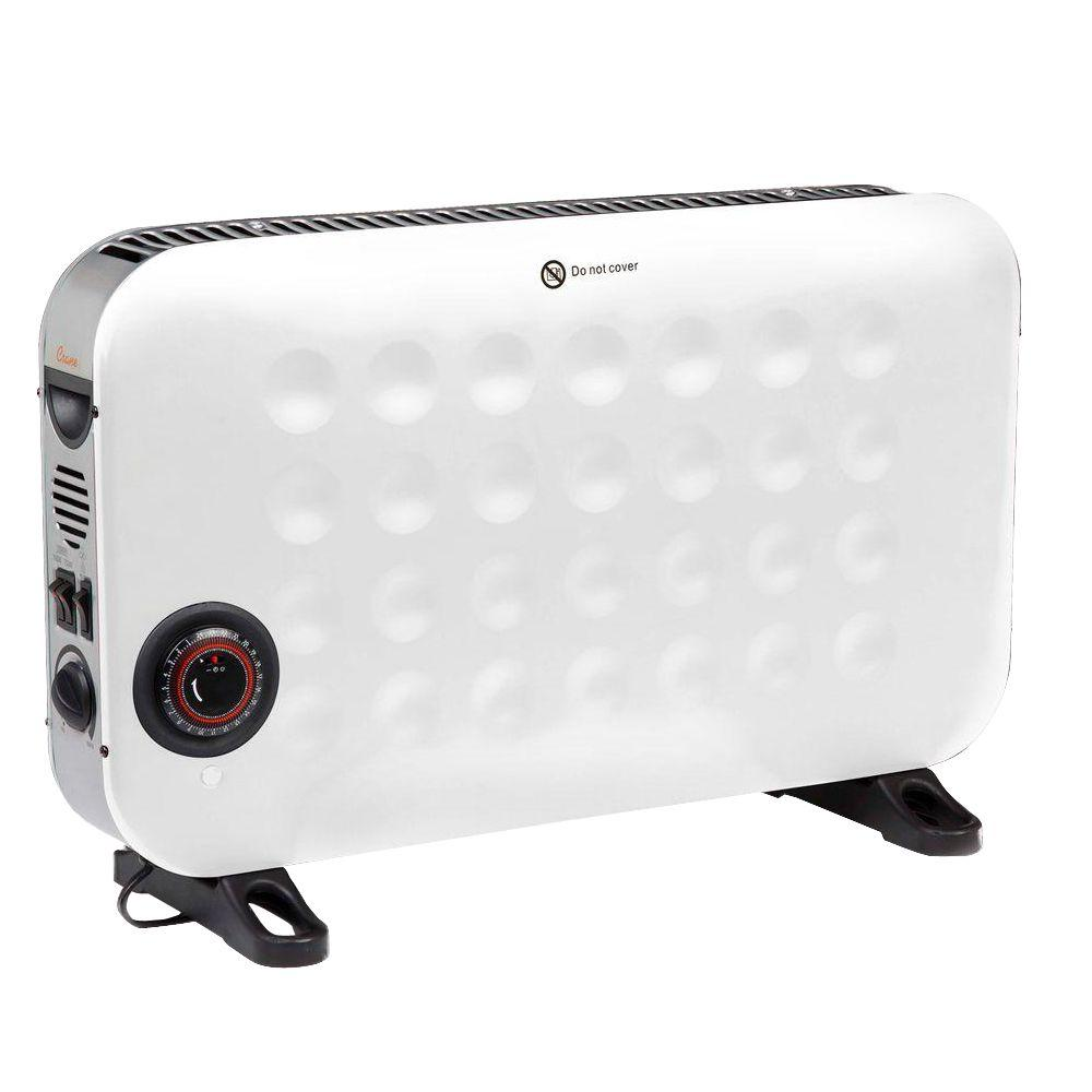 Crane 1500-Watt Convection Portable Heater with Timer and Fan - White