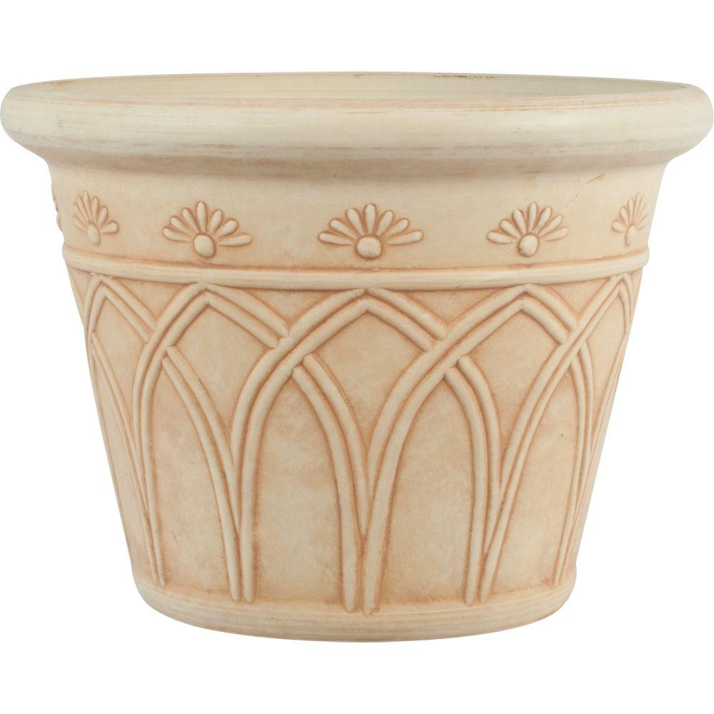 12 in. Dia Arch Ivory Plastic Planter
