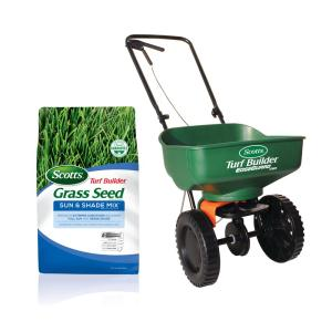 20 lb. 8,000 sq. ft. Turf Builder Sun and Shade Grass Seed and Spreader Bundle