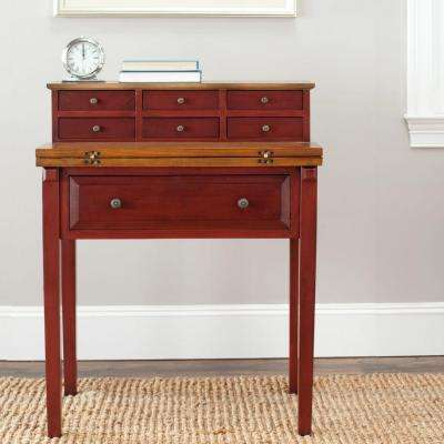 Abigail Egyptian Red and Oak Desk with Drawers