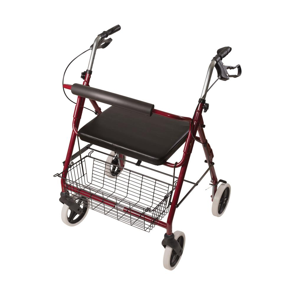DMI Lightweight Extra-Wide Heavy-Duty Rollator in Aluminum