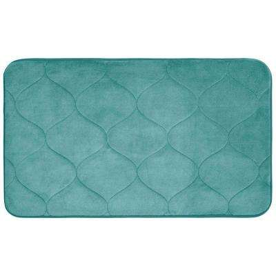 Palace Marine Blue 20 in. x 34 in. Memory Foam Bath Mat