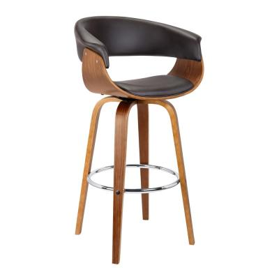 Julyssa 26 in. Brown Faux Leather with Walnut Wood Mid-Century Swivel Counter Height Bar Stool