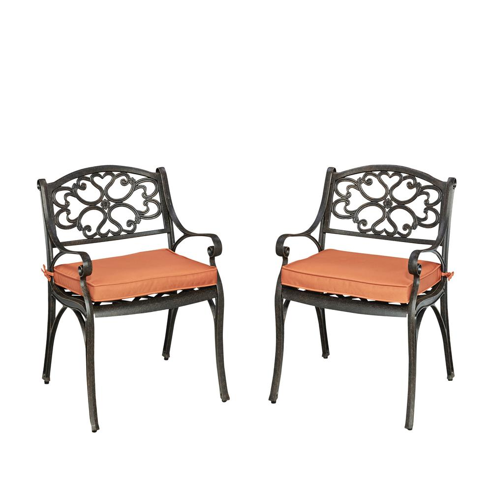 Biscayne Rust Bronze Stationary Cast Aluminum Outdoor Dining Arm Chair with
