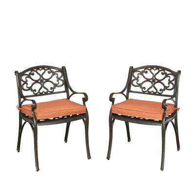 Biscayne Rust Bronze Stationary Cast Aluminum Outdoor Dining Arm Chair with Coral Cushion (Pack of 2)