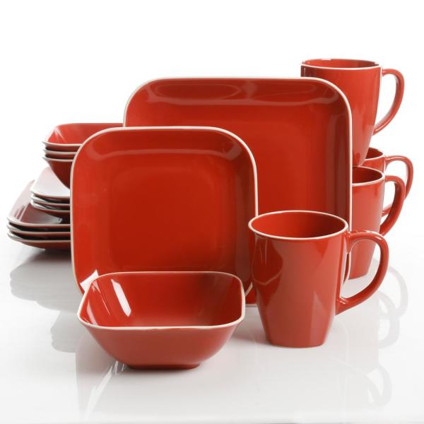 Square Dance 16-Piece Red Square Dinnerware Set