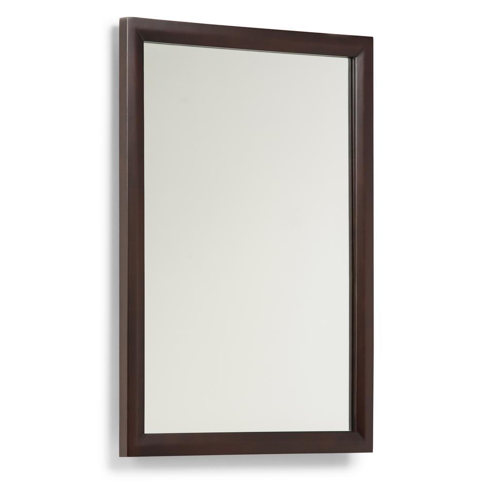 Urban Loft 30 in. L x 22 in. W Framed Wall Mirror in Dark Espresso Brown