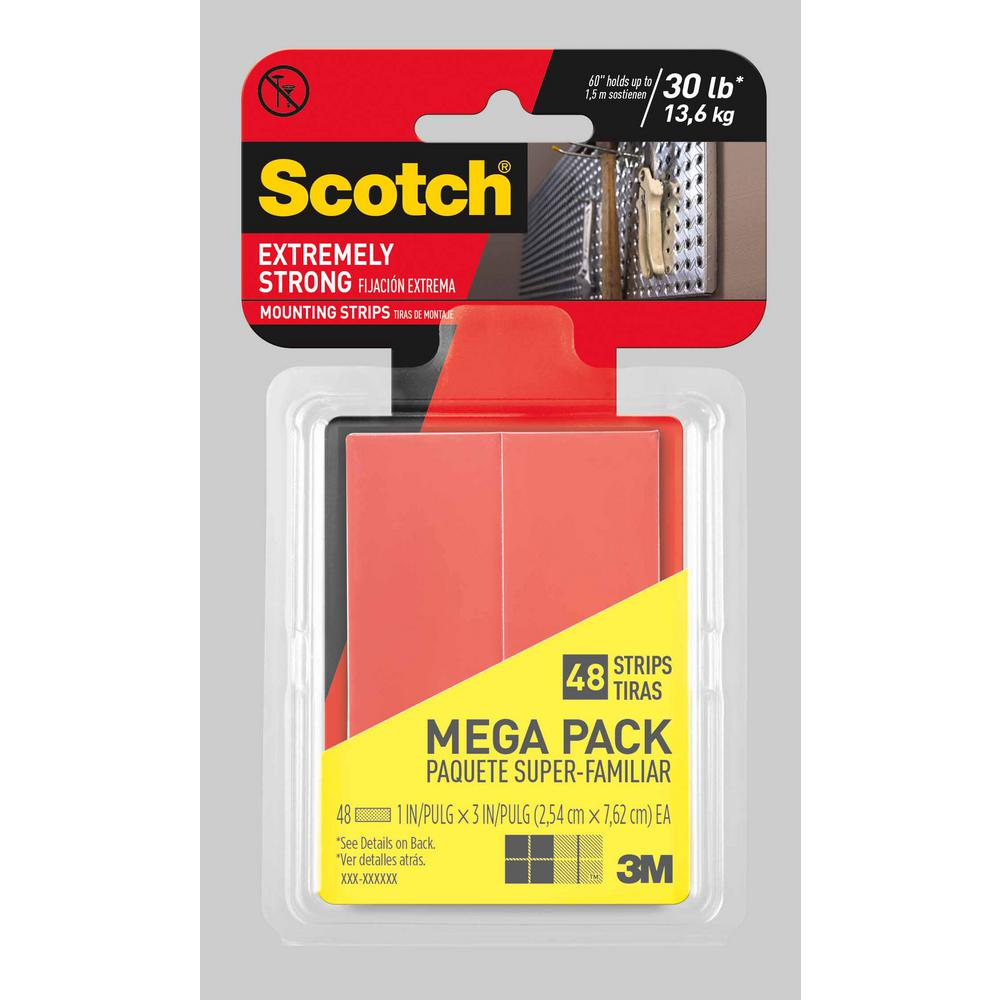 Scotch 1 in. x 3 in. Extremely Strong Mounting Strips Megapack