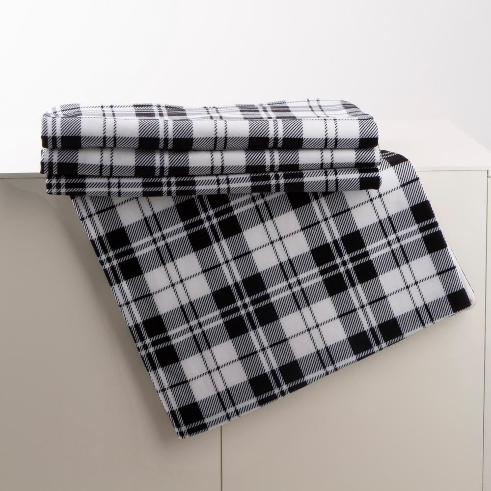 72 in. L x 48 in. W Polar Fleece Black and White Plaid Reversible Duvet Cover