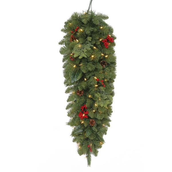 36 in. Winslow Fir Battery-Operated Pre-Lit LED Artificial Christmas Tear-Drop Swag with 148 Tips & 50 Warm White Lights