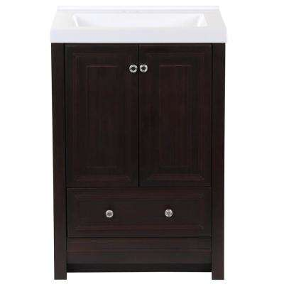 Brinkhill 25 in. W x 22 in. D Bath Vanity in Chocolate with Cultured Marble Vanity Top in White with White Sink