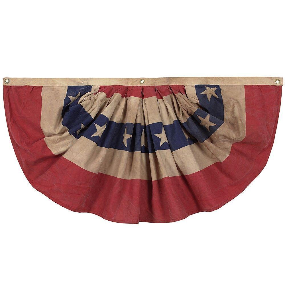 Antiqued 1.5 ft. x 3 ft. Cotton Pleated Mini-Fan Flag