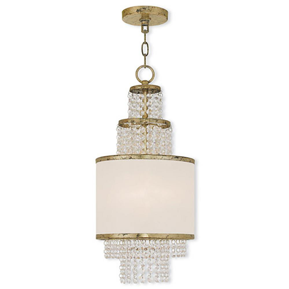 Livex Lighting Prescott 2-Light Winter Gold Mini Chandelier with Clear Crystals/ Hand Crafted Off-White Sheer Organza Shade
