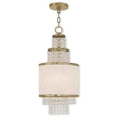 Prescott 2-Light Winter Gold Mini Chandelier with Clear Crystals/ Hand Crafted Off-White Sheer Organza Shade