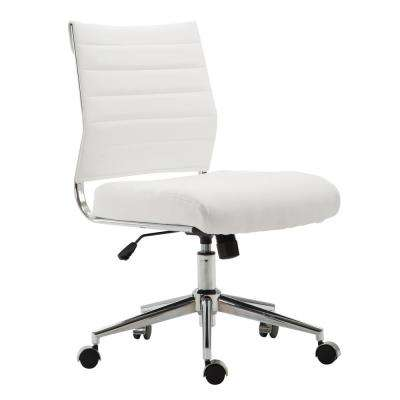 Tremaine Task White Chair in Vegan Leather
