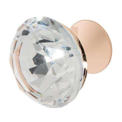 Nina 1-3/8 in. Rose Gold with Clear Crystal Cabinet Knob