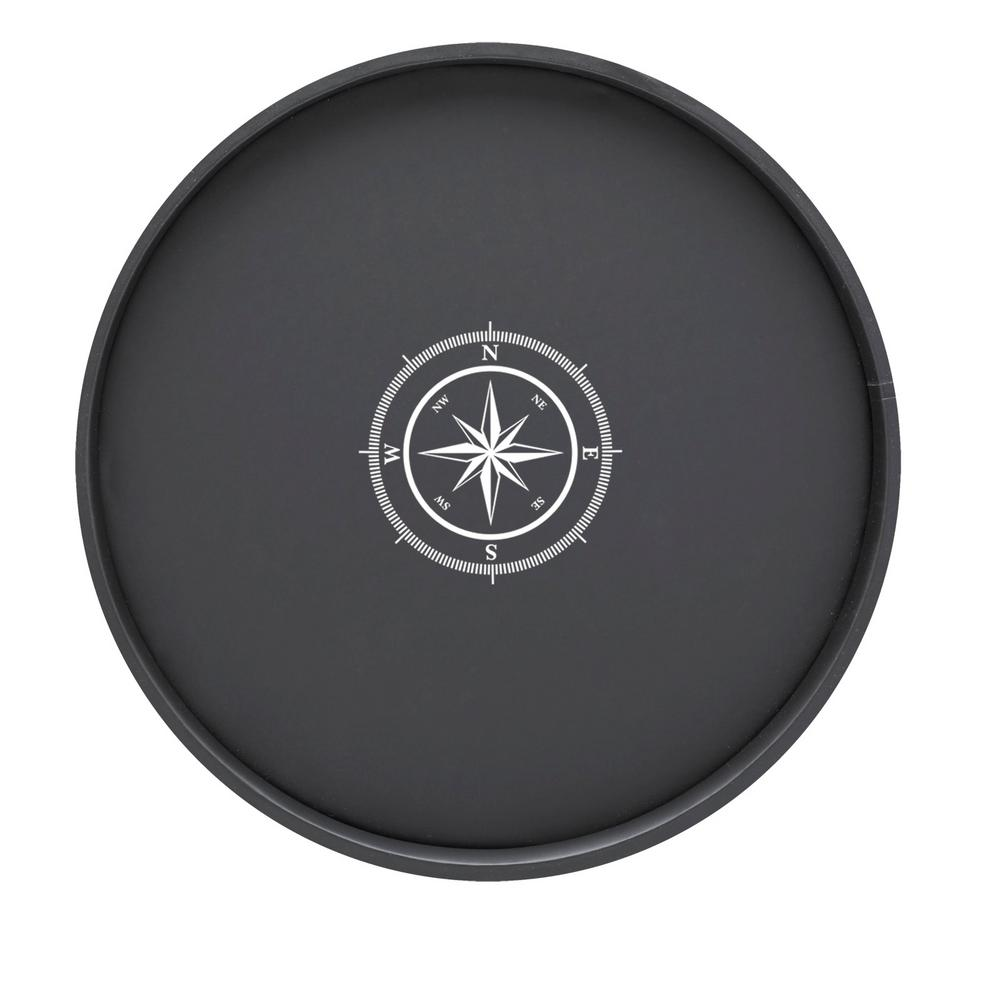 Kasualware Compass Point 14 in. Round Serving Tray in Black