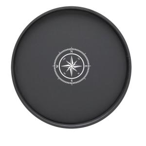 Kraftware Kasualware Compass Point 14 inch Round Serving Tray in Black by Kraftware